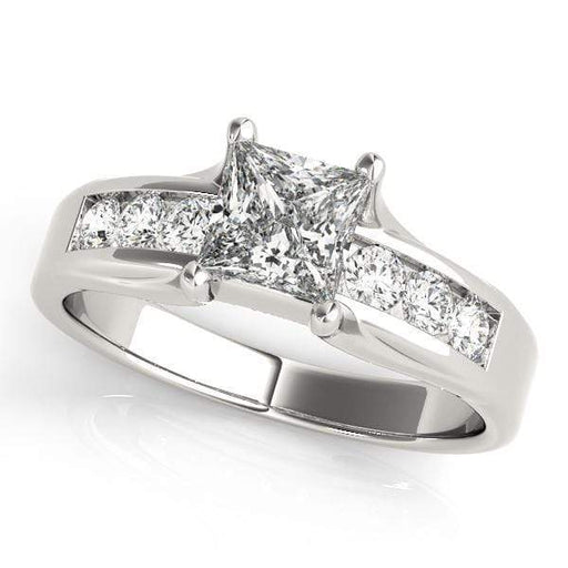 Angelucci-jewelry  Princess Shape 14-Karat Single Row Channel Set Diamond Engagement Ring
