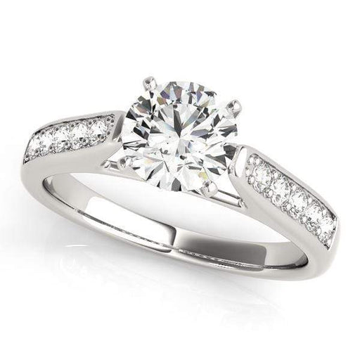 Angelucci-jewelry Round Shape 14-Karat Single Row Channel Set Diamond Engagement Ring with Cathedral Setting