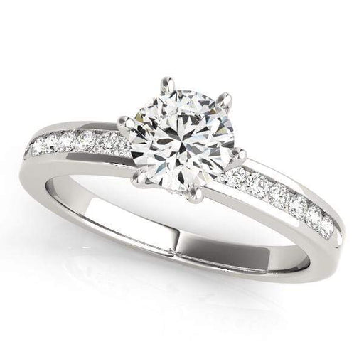 Angelucci-jewelry Round Shape 14-Karat Single Row Channel Set Diamond Engagement Ring with European Shank