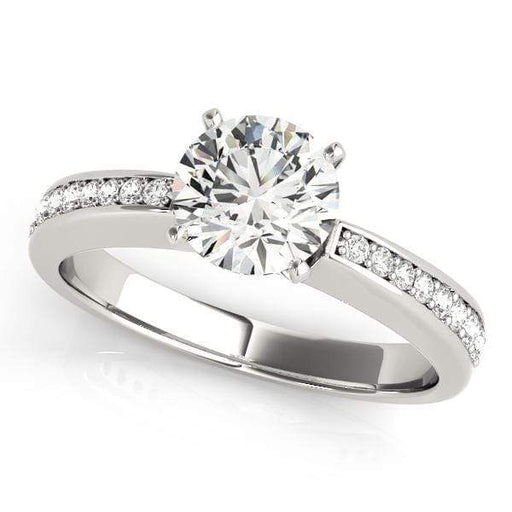 Angelucci-jewelry Round Shape 14-Karat Thin Single Row Channel Set Diamond Engagement Ring