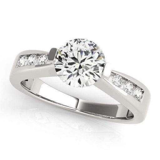 Angelucci-jewelry Round Brilliant Shape 14-Karat Single Row Channel Set Diamond Engagement Ring with Tension Setting
