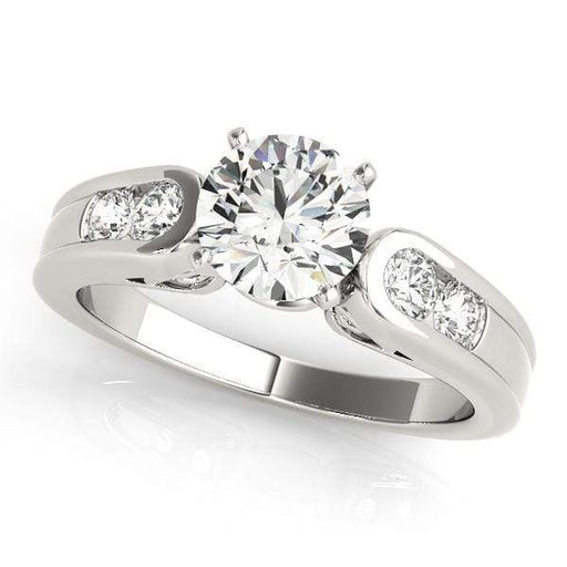 Angelucci-jewelry Round Shape 14-Karat Channel-Set Diamond Engagement Ring with Gallery and Two-tone Prong