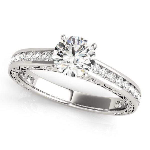 Angelucci-jewelry Antique Round Shape 14-Karat Single Row Thin Channel Set Diamond Engagement Ring