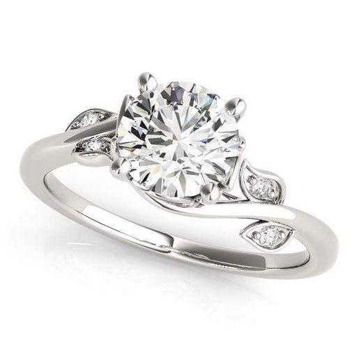 angelucci-jewelry-Round Brilliant Shape Bypass Solitaire Diamond Engagement Ring Twisted Vine Style Band with Floral Accent Diamonds
