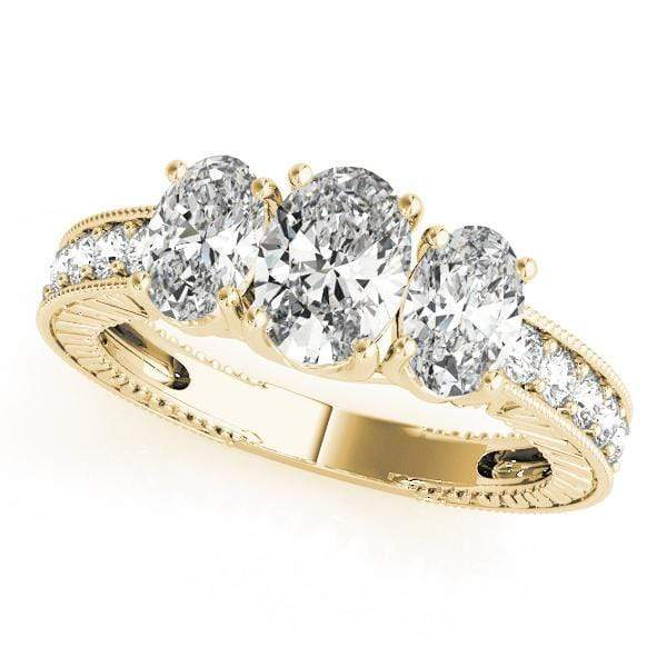 Engagement Rings 14kt / Yellow Engagement Rings 3 Stone Oval angelucci-jewelry