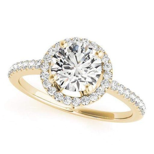 Round Shape Thin Halo Diamond Engagement Ring-Angelucci-Jewelry