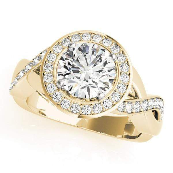 Round Brilliant Shape Bezel Set Halo Diamond Engagement Ring with Accent Diamonds & Bypass Setting-Angelucci-Jewelry