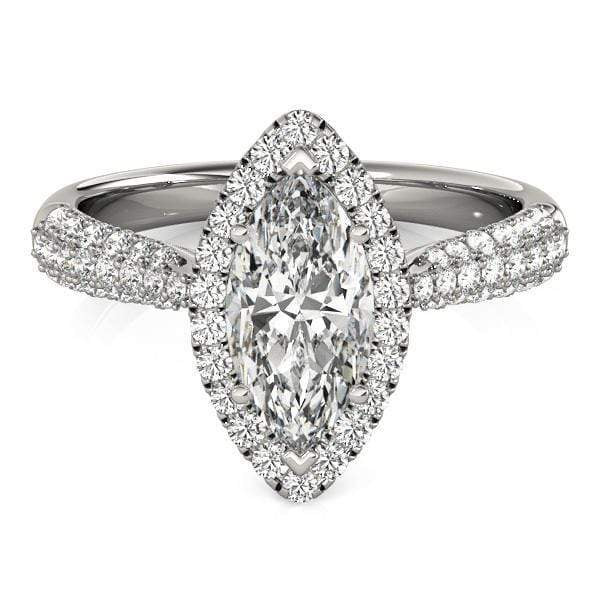 Engagement Rings 3-Row Marquise Shape Pavé Halo Diamond Engagement Ring with Tapered Band angelucci-jewelry