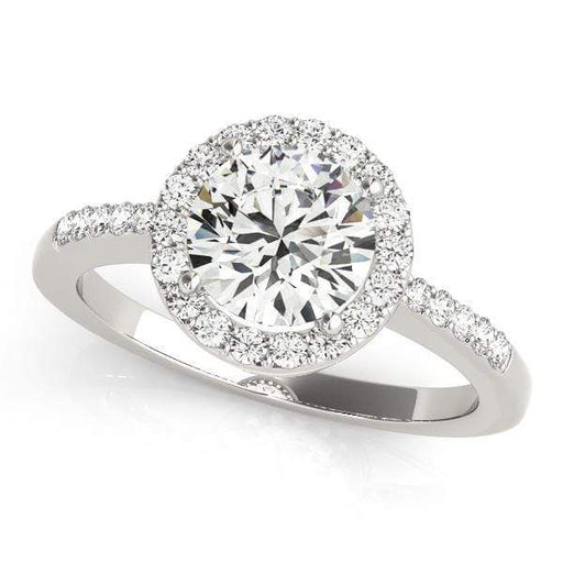 Round Brilliant Shape Halo Diamond Engagement Ring with Accent Diamonds & Thin Band-Angelucci-Jewelry