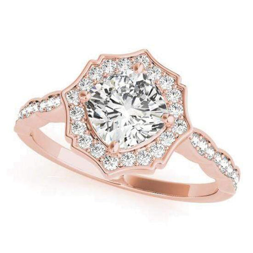 Cushion Shape Star Halo Diamond Engagement Ring with Petite Band & Accent Diamonds-Angelucci-Jewelry