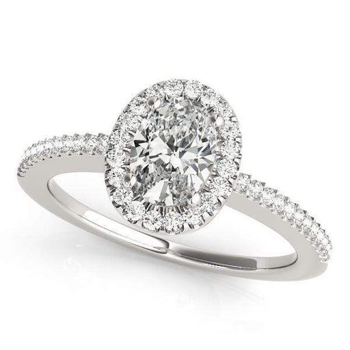 Oval Shape Halo Diamond Engagement Ring with Prongs Setting & Thin Band-Angelucci-Jewelry