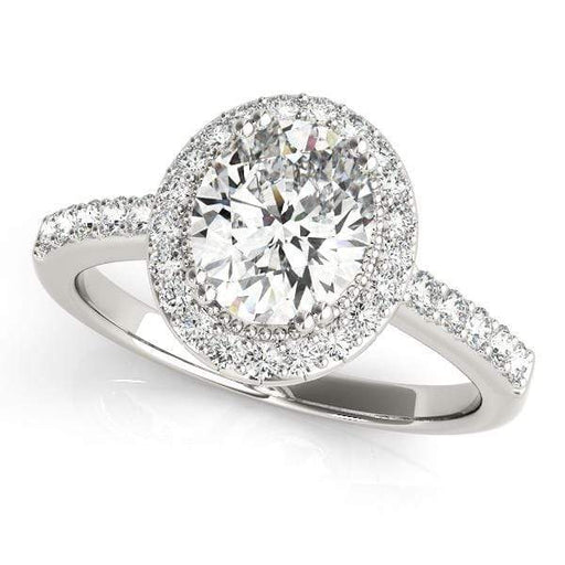 Oval Shape Halo Diamond Engagement Ring with Milgraine Borders & Prongs Setting-Angelucci-Jewelry
