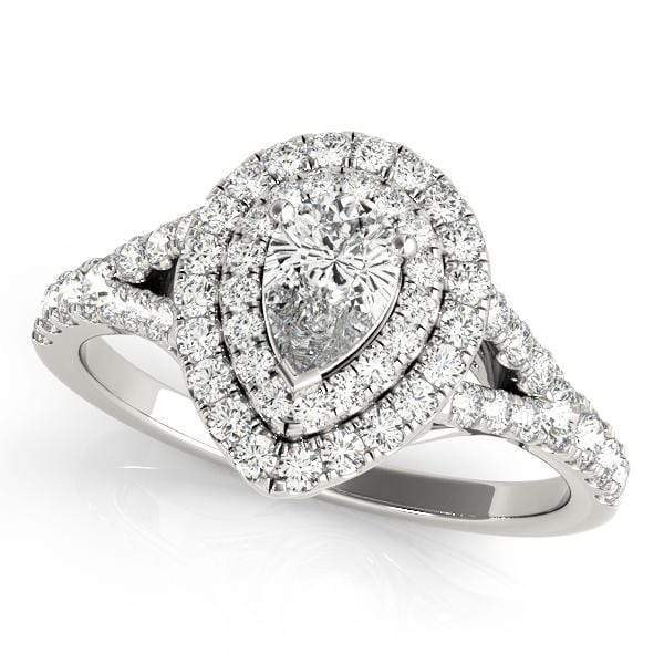 Pear Shape Double Halo Diamond Engagement Ring-angelucci-jewelry