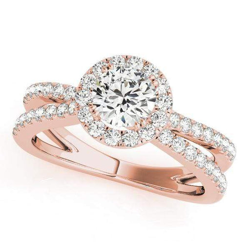 Double Shank Round Wrap Around Halo Diamond Engagement Ring-Angelucci-Jewelry