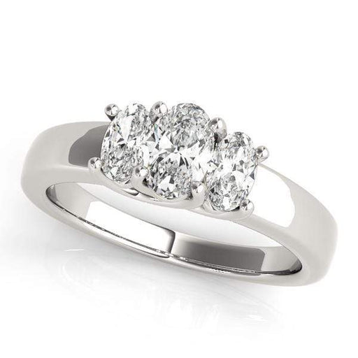 angelucci-jewelry-3 Stone Oval Shape 14-Karat Trellis Diamond Engagement Ring Plain Band