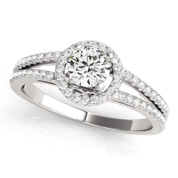 Double Shank Round Shape Halo Diamond Engagement Ring With Fleur-Di-Lis Gallery Accent-Angelucci-Jewelry