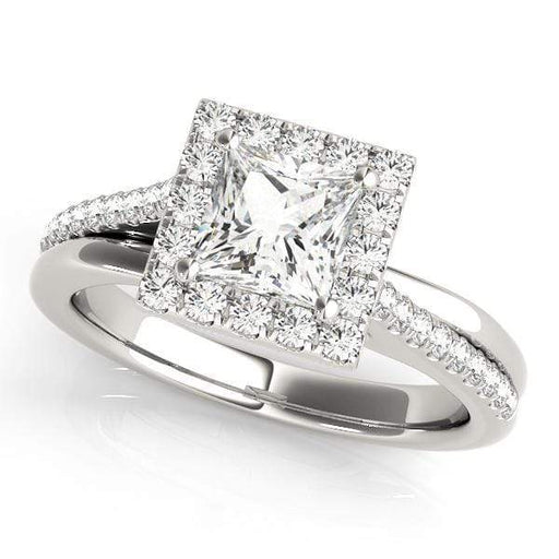 Princess Brilliant Shape Halo Diamond Engagement Ring Square Border & Bypass Setting-Angelucci-Jewelry