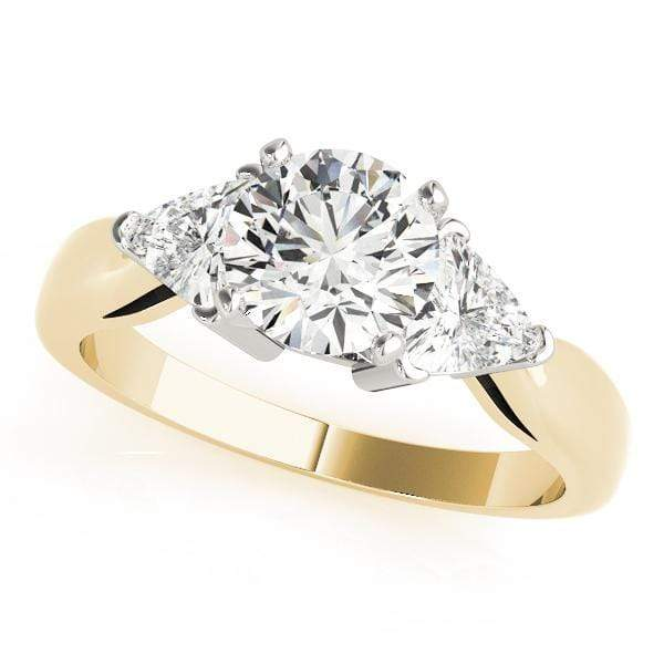 angelucci-jewelry-3 Stone Round Brilliant Shape and Trillion Shape 14-Karat 2-Tone Diamond Engagement Ring Tapered Band