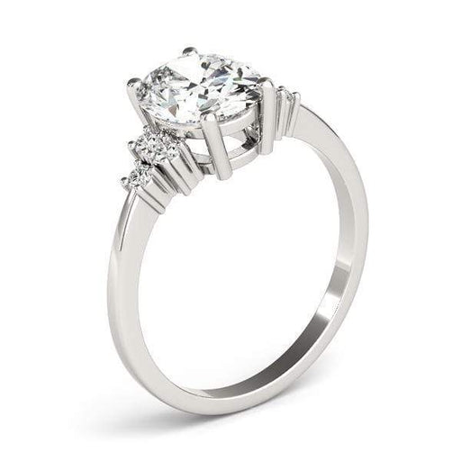 angelucci-jewelry-Oval Shape 14-Karat Solitaire Diamond Engagement Ring with Cluster-Set Side Diamonds