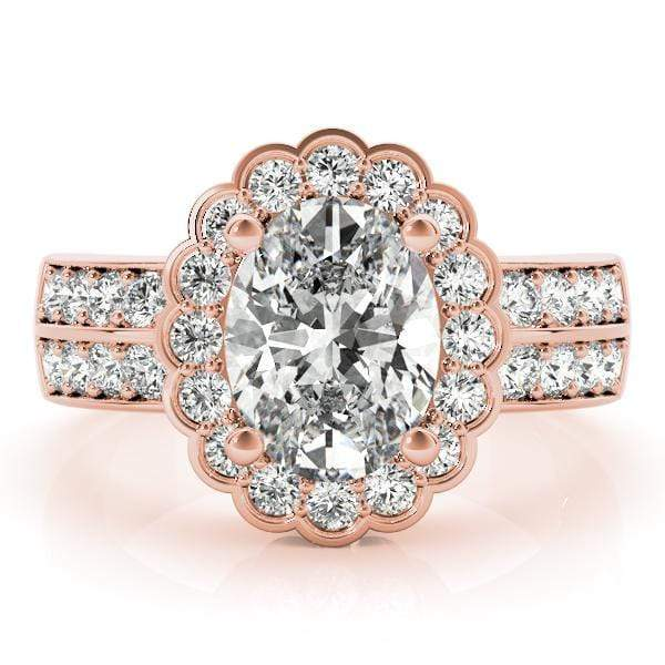 angelucci-jewelry-2-Row Pavé Oval Shape 14-Karat Floral Motif Halo Diamond Engagement Ring
