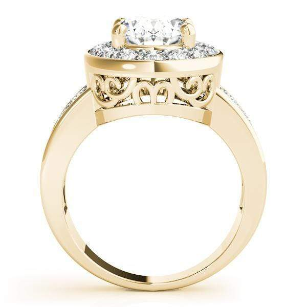 angelucci-jewelry-2-Row Prong-Set Oval Shape 14-Karat Halo Diamond Engagement Ring