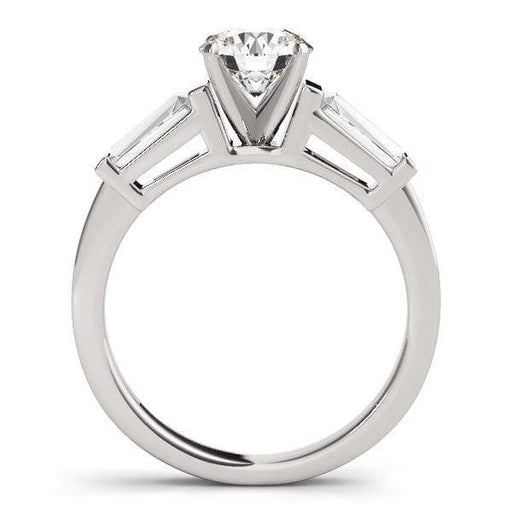 angelucci-jewelry-3-Stone Round Brilliant Shape Diamond Engagement Ring with Tapered Baguette Accent Diamonds