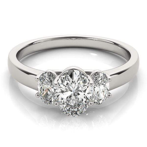 angelucci-jewelry-3 Stone Oval Shape Trellis Diamond Engagement Ring Plain Shank Band