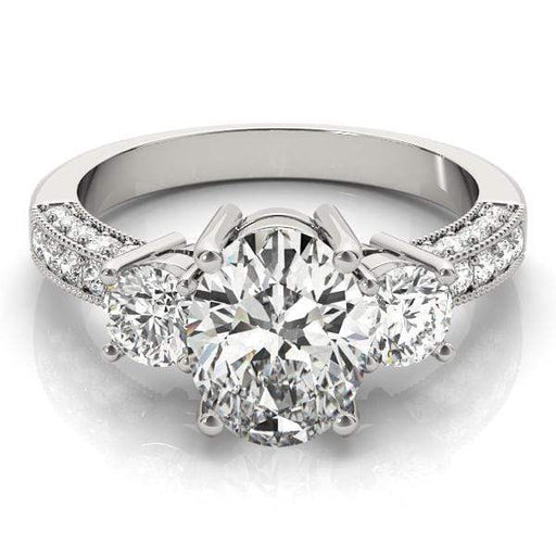 angelucci-jewelry-3 Stone Oval Shape 3-Row Diamond Engagement Ring with Round Brilliant Shape Accent Diamonds and Milgraine Borders
