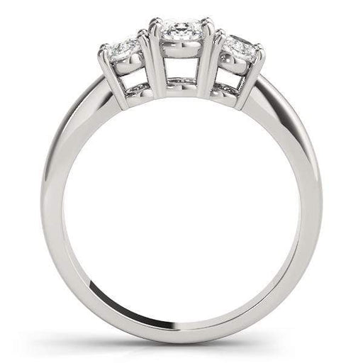 angelucci-jewelry-3 Stone Oval Shape Diamond Engagement Ring with White Gold Prong Setting