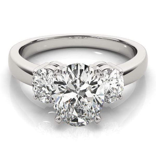 angelucci-jewelry-3 Stone Oval Shape 14-Karat 2-Tone Prong Setting Diamond Engagement Ring
