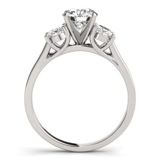 angelucci-jewelry-3 Stone Round Brilliant Shape 2-Tone Trellis Diamond Engagement Ring with Oval Shape Side Diamonds