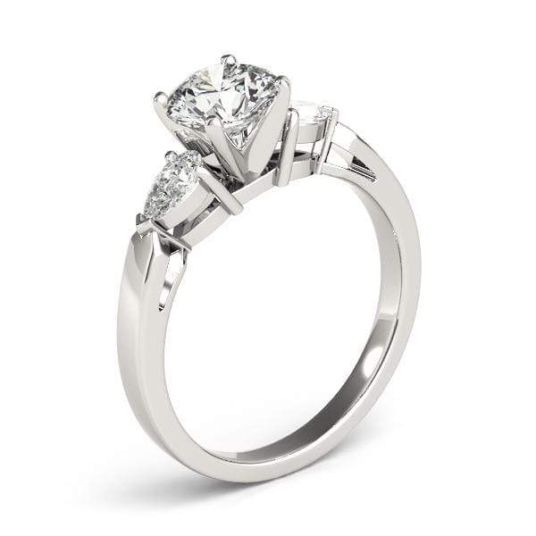 angelucci-jewelry-3 Stone Round Brilliant Shape 2-Tone Diamond Engagement Ring with Pear Shape Diamond Accents