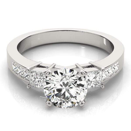 angelucci-jewelry-3 Stone Round Brilliant Shape 2-Tone Diamond Engagement Ring with Princess Shape Accent Diamonds