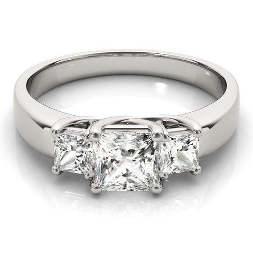 angelucci-jewelry-3 Stone Princess Shape Diamond Engagement Ring with White-Gold Setting