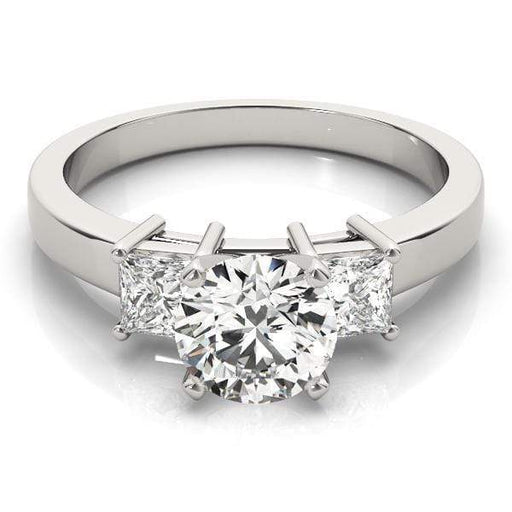 angelucci-jewelry-3 Stone Round Brilliant Shape 2-Tone Diamond Engagement Ring with Princess Shape Side Diamonds