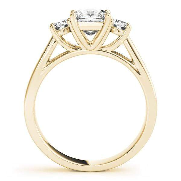 angelucci-jewelry-3 Stone Princess Shape 14-Karat Diamond Engagement Ring with Round Brilliant Shape Accent Diamonds
