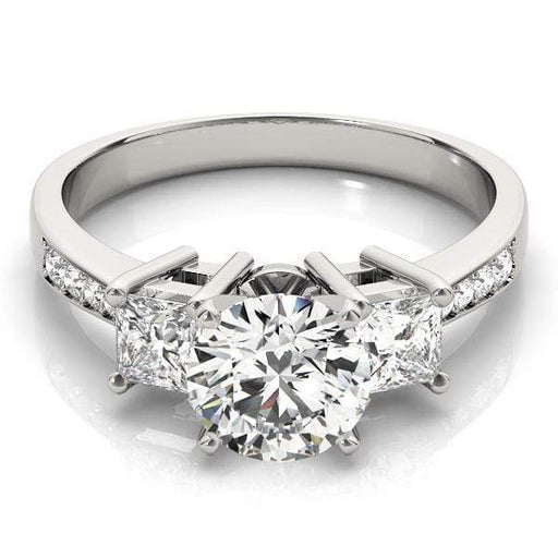 angelucci-jewelry-3 Stone Round Brilliant Shape 2-Tone Diamond Engagement Ring with Princess Shape Side Diamon
