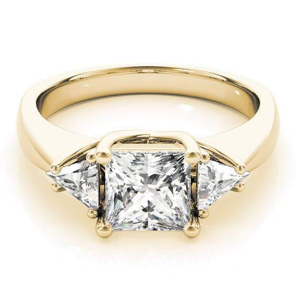 angelucci-jewelry-3 Stone Princess Shape Trellis Diamond Engagement Ring with Trillion Shape Accent Diamonds