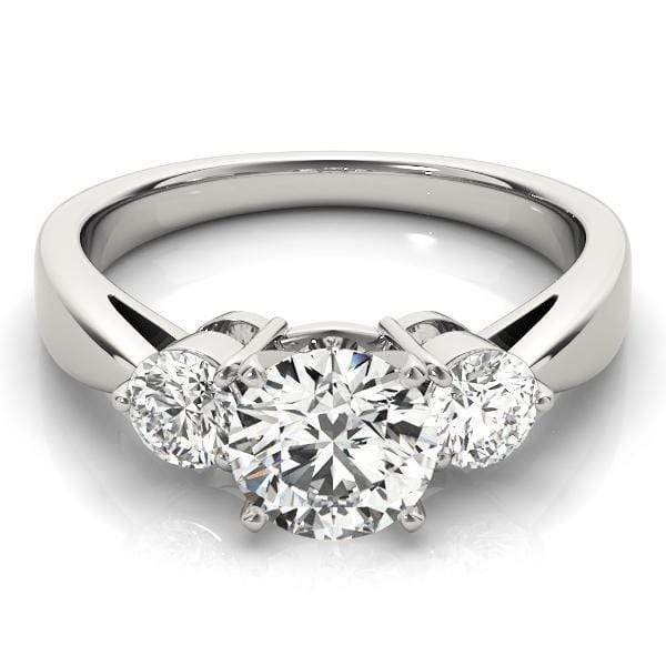 angelucci-jewelry-3 Stone Round Brilliant Shape 14-Karat 2-Tone Prong Setting Diamond Engagement Ring Tapered Band