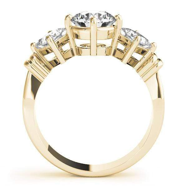 angelucci-jewelry-3 Stone Round Brilliant Shape Diamond Engagement Ring with Princess Shape Side Diamonds