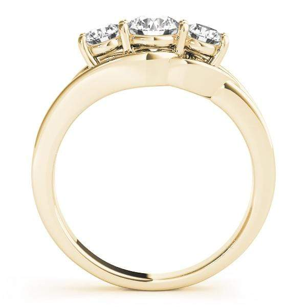 angelucci-jewelry-3 Stone Round Brilliant Shape 14-Karat Pea-Pod Style Diamond Engagement Ring