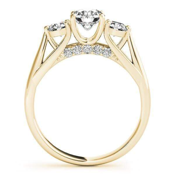 angelucci-jewelry-3 Stone Round Brilliant Shape 4-Prong Set Split-Shank Diamond Engagement Ring with Diamond Accents