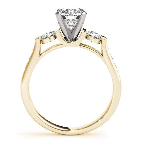 angelucci-jewelry-3 Stone Round Brilliant Shape 2-Tone 4-Prong Set Diamond Engagement Ring with Channel-Set Side Diamonds