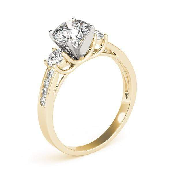 angelucci-jewelry-3 Stone Round Brilliant Shape 2-Tone Diamond Engagement Ring with Channel-Set Diamond Accents
