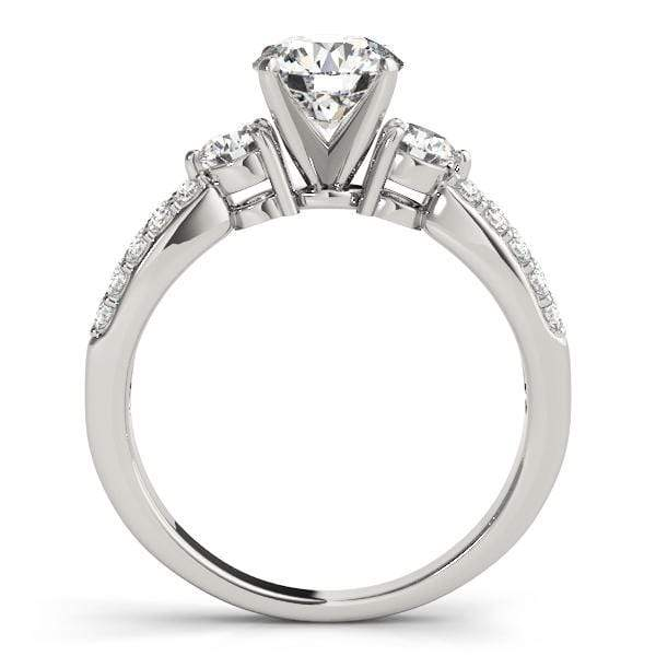 angelucci-jewelry-3 Stone Round Brilliant Shape Rising Split-Shank Diamond Engagement Ring with Diamond Accents