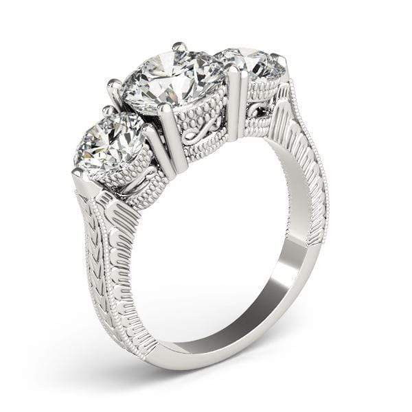 angelucci-jewelry-Antique 3 Stone Round Brilliant Shape Diamond Engagement Ring with Milgraine Borders