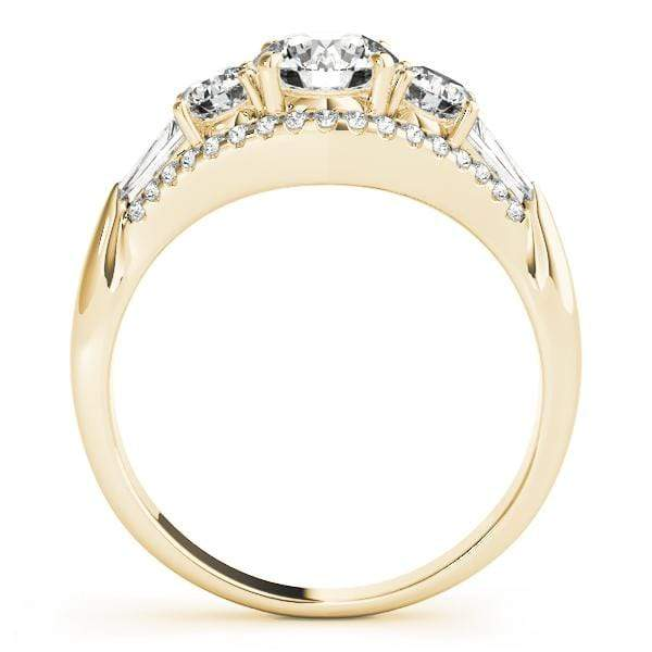 angelucci-jewelry-3 Stone Round Brilliant Shape Diamond Engagement Ring with Tapered Baguette Shape Accent Diamonds