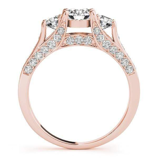 angelucci-jewelry-3 Stone Round Brilliant Shape Diamond Engagement Ring with Channel-Set Accent Diamonds