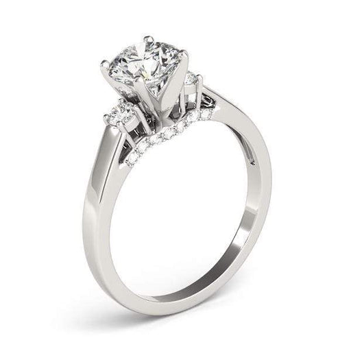 angelucci-jewelry-3 Stone Round Brilliant Shape 2-Tone Diamond Engagement Ring Plain Shank with Accent Diamonds