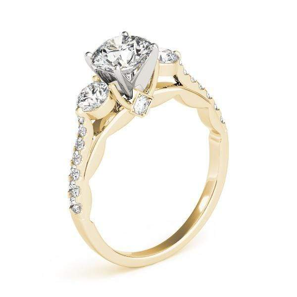 angelucci-jewelry-3 Stone Round Brilliant Shape 2-Tone Setting Diamond Engagement Ring with Accent Diamonds